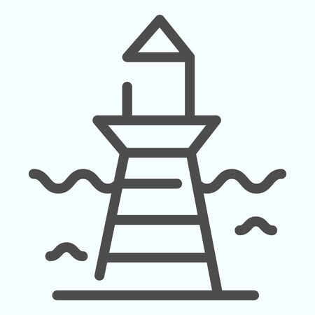 Lighthouse and wave line icon. Marine beacon illustration isolated on white. Navigation pharos outline style design, designed for web and app.