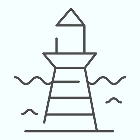 Lighthouse and wave thin line icon. Marine beacon illustration isolated on white. Navigation pharos outline style design, designed for web and app.