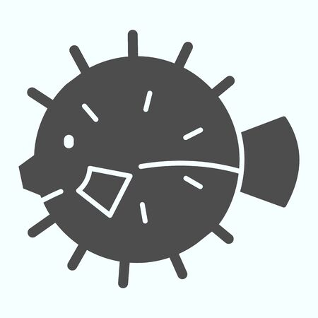 Sea urchin solid icon. Hedgehog fish illustration isolated on white. Marine urchin glyph style design, designed for web and app.