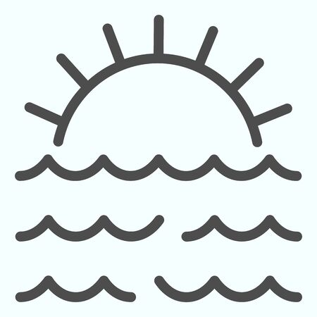 Sunset line icon. Sunset and sea waves illustration isolated on white. Marine Sunset outline style design, designed for web and app.