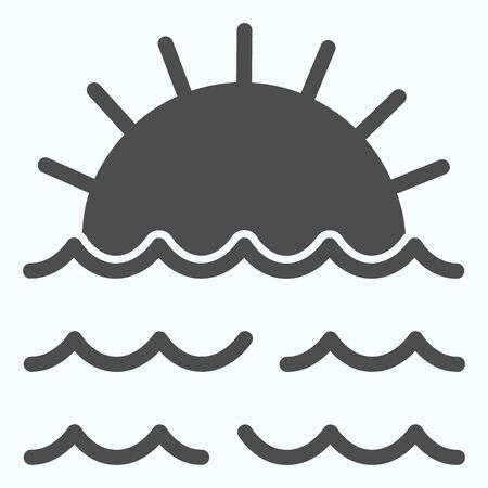 Sunset solid icon. Sunset and sea waves illustration isolated on white. Marine Sunset glyph style design, designed for web and app.