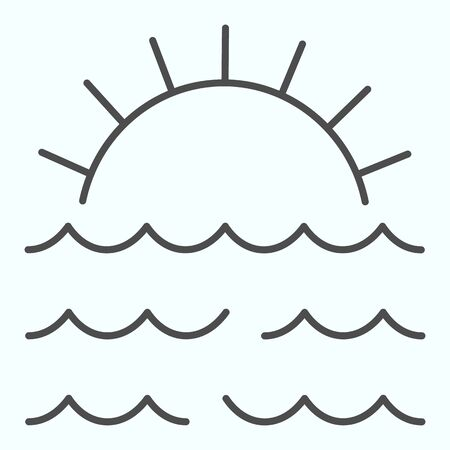 Sunset thin line icon. Sunset and sea waves illustration isolated on white. Marine Sunset outline style design, designed for web and app.