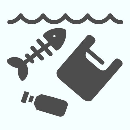 Sea pollution solid icon. Dirty ocean pollution illustration isolated on white. Plastic garbage and bottle with fish skeleton glyph style design, designed for web and app.