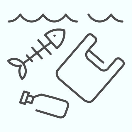 Sea pollution thin line icon. Dirty ocean pollution illustration isolated on white. Plastic garbage and bottle with fish skeleton outline style design, designed for web and app.