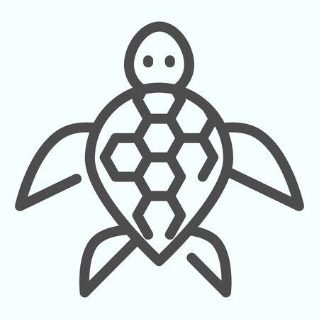 Turtle line icon. Ocean or sea kareta tortoise illustration isolated on white. Marine turtle-shell animal outline style design, designed for web and app.  イラスト・ベクター素材