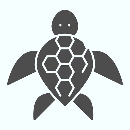 Turtle solid icon. Ocean or sea kareta tortoise illustration isolated on white. Marine turtle-shell animal glyph style design, designed for web and app.