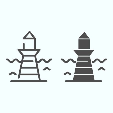 Lighthouse and wave line and solid icon. Marine beacon illustration isolated on white. Navigation pharos outline style design, designed for web and app.