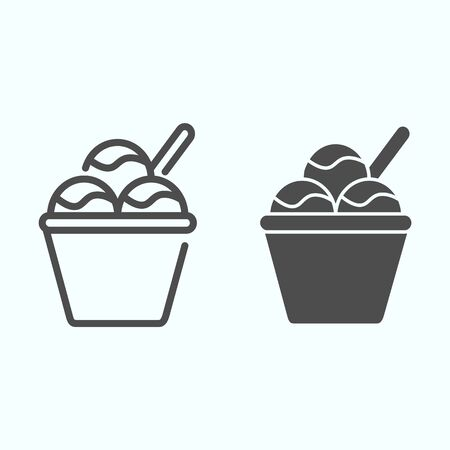 Ice cream basket line and solid icon. Three balls of ice cream vector illustration isolated on white. Creamy ice cream outline style design, designed for web and app. Eps 10. Illustration