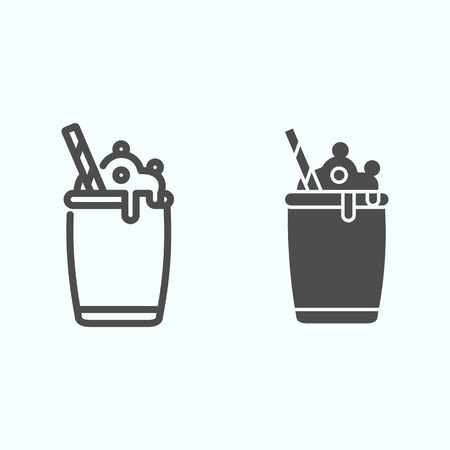 Ice Cream Cocktail line and solid icon. Milkshake with whipped cream vector illustration isolated on white. Cocktail dessert outline style design, designed for web and app. Eps 10.