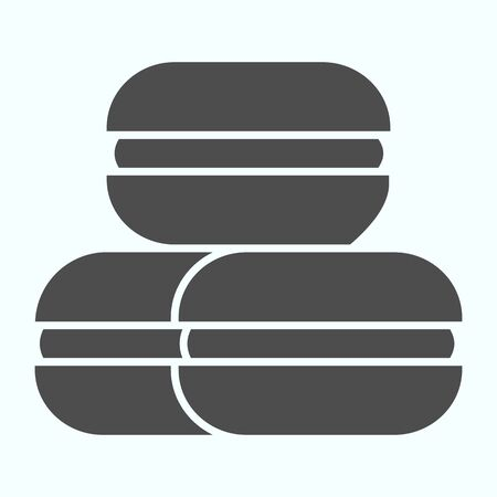 Macarons solid icon. Coconut or ground almonds cookie vector illustration isolated on white. Macaron glyph style design, designed for web and app. Eps 10.