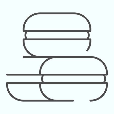 Macarons thin line icon. Coconut or ground almonds cookie vector illustration isolated on white. Macaron outline style design, designed for web and app. Eps 10.
