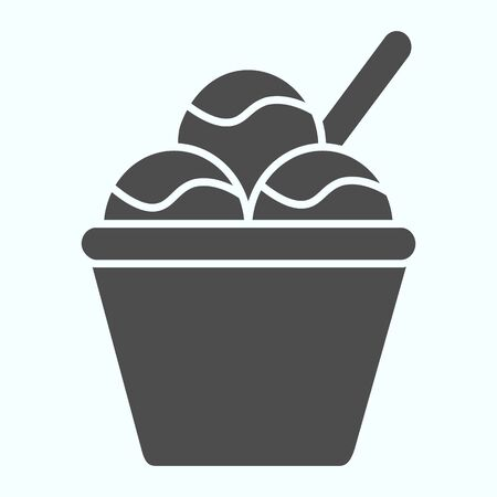 Ice cream basket solid icon. Three balls of ice cream vector illustration isolated on white. Creamy ice cream glyph style design, designed for web and app. Eps 10.