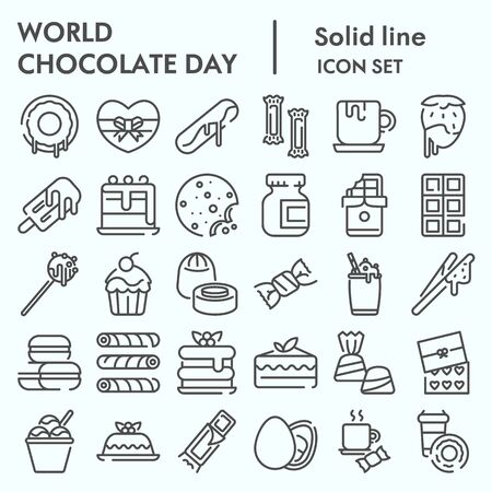 World chocolate day line icon set, Chocolate and sweets set symbols collection, vector sketches, illustrations, computer web signs linear pictograms package isolated on white background, eps 10.
