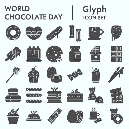 World chocolate day glyph icon set, Chocolate and sweets set symbols collection, vector sketches, illustrations, computer web signs solid pictograms package isolated on white background, eps 10.