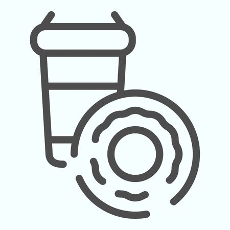 Drink cup and donut line icon. Cocoa with donut vector illustration isolated on white. Hot drink and cake outline style design, designed for web and app. Eps 10.