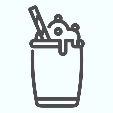 Ice Cream Cocktail line icon. Milkshake with whipped cream vector illustration isolated on white. Cocktail dessert outline style design, designed for web and app. Eps 10.