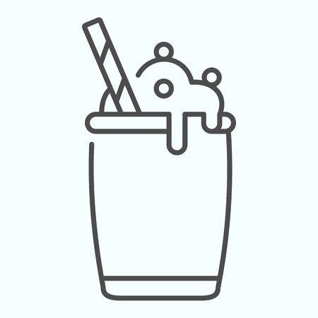 Ice Cream Cocktail thin line icon. Milkshake with whipped cream vector illustration isolated on white. Cocktail dessert outline style design, designed for web and app. Eps 10.