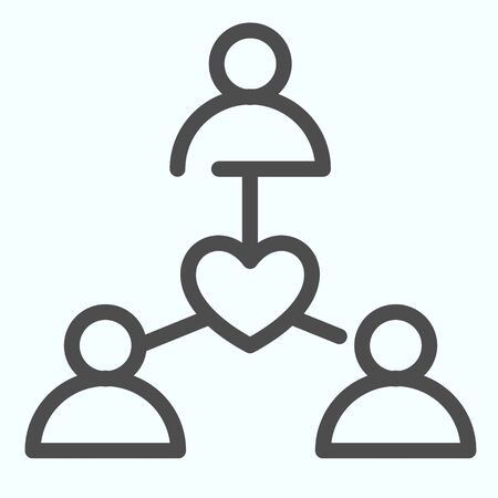 Donors line icon. People connection with heart in center vector illustration isolated on white. Social support outline style design, designed for web and app. Archivio Fotografico - 138193202