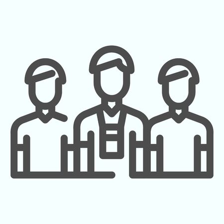 Donors line icon. Three persons vector illustration isolated on white. Group of people outline style design, designed for web and app. Ilustrace