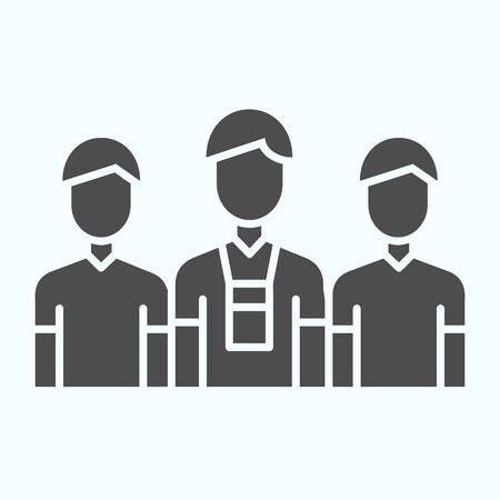 Donors solid icon. Three persons vector illustration isolated on white. Group of people glyph style design, designed for web and app. Archivio Fotografico - 138193252