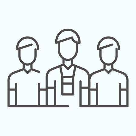 Donors thin line icon. Three persons vector illustration isolated on white. Group of people outline style design, designed for web and app. Archivio Fotografico - 138193260