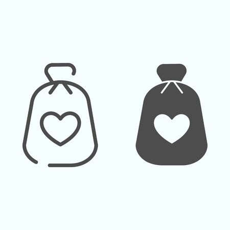 Charity Money line and solid icon. Bag with heart on a material vector illustration isolated on white. Money bag outline style design, designed for web and app.