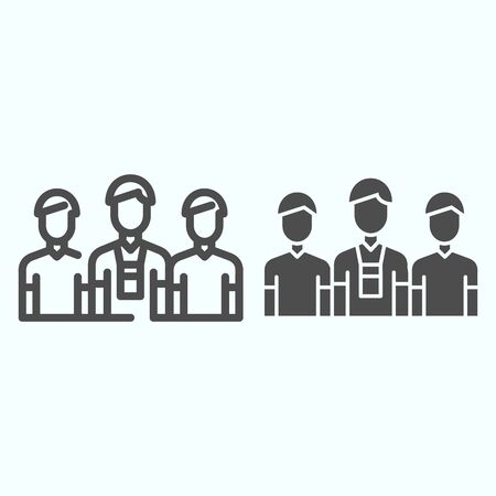 Donors line and solid icon. Three persons vector illustration isolated on white. Group of people outline style design, designed for web and app.