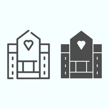 Hospital line and solid icon. Medical building vector illustration isolated on white. House with a window in a shape of heart outline style design, designed for web and app. Çizim