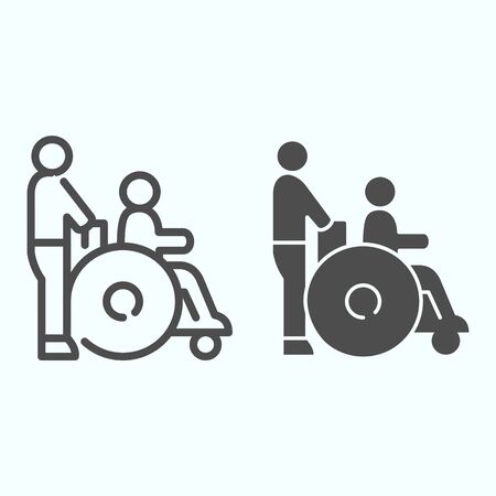 Disabled carriage line and solid icon. Medical transportation vector illustration isolated on white. A man pushing a wheelchair with a patient outline style design, designed for web and app.