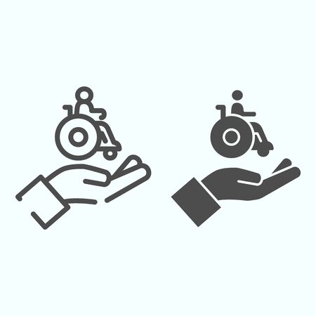 Help for people with disabilities line and solid icon. Disabled carriage vector illustration isolated on white. A hand holding a wheelchair with a patient outline style design, designed for web and app.