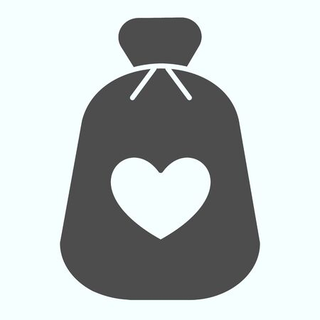 Charity Money solid icon. Bag with heart on a material vector illustration isolated on white. Money bag glyph style design, designed for web and app.