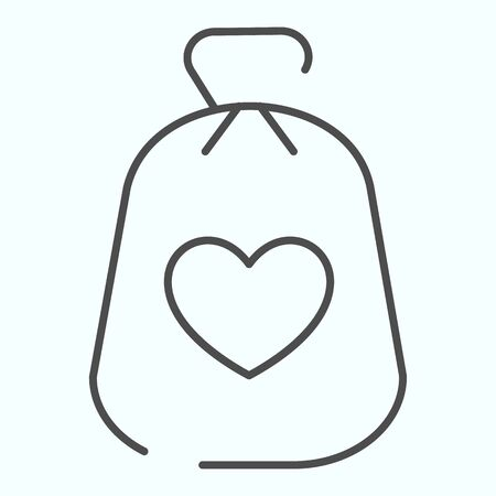 Charity Money thin line icon. Bag with heart on a material vector illustration isolated on white. Money bag outline style design, designed for web and app.