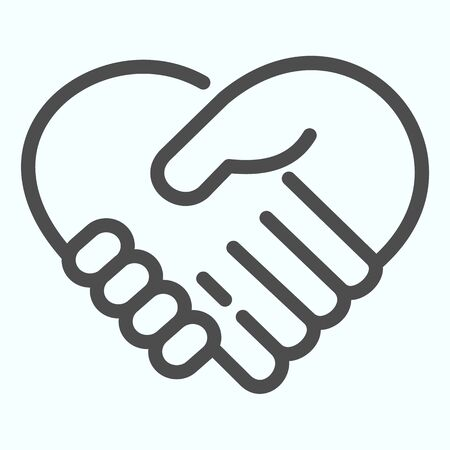 Support line icon. Handshaking forming a heart vector illustration isolated on white. Two hands support each other outline style design, designed for web and app.