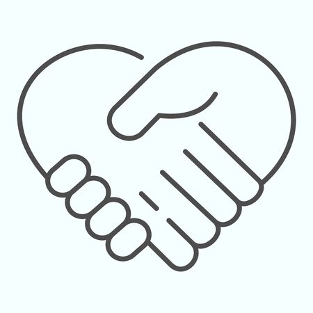 Support thin line icon. Handshaking forming a heart vector illustration isolated on white. Two hands support each other outline style design, designed for web and app.