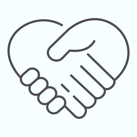 Symbol für dünne Linien unterstützen. Händeschütteln, das eine Herzvektorillustration lokalisiert auf Weiß bildet. Zwei Hände unterstützen sich gegenseitig im Outline-Stil-Design, das für Web und App entwickelt wurde.