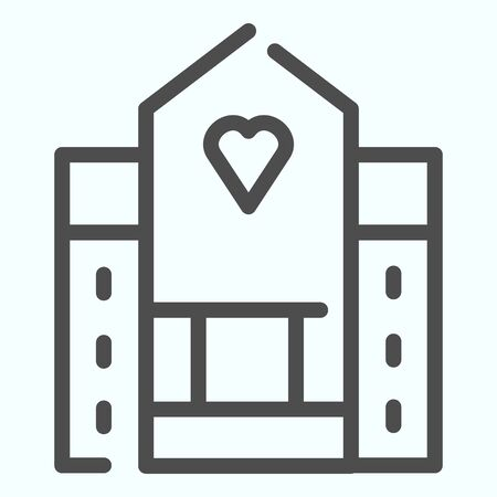 Hospital line icon. Medical building vector illustration isolated on white. House with a window in a shape of heart outline style design, designed for web and app.