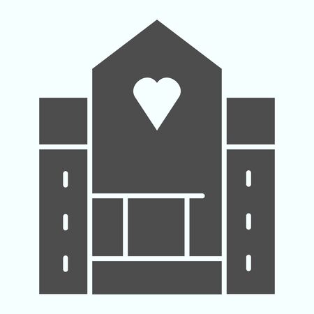 Hospital solid icon. Medical building vector illustration isolated on white. House with a window in a shape of heart glyph style design, designed for web and app.