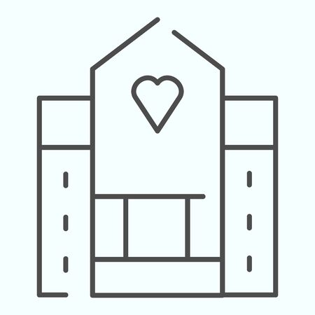Hospital thin line icon. Medical building vector illustration isolated on white. House with a window in a shape of heart outline style design, designed for web and app. Çizim