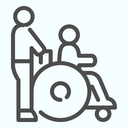 Disabled carriage line icon. Medical transportation vector illustration isolated on white. A man pushing a wheelchair with a patient outline style design, designed for web and app. Stock Illustratie