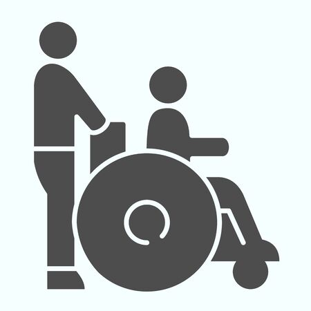 Disabled carriage solid icon. Medical transportation vector illustration isolated on white. A man pushing a wheelchair with a patient glyph style design, designed for web and app.