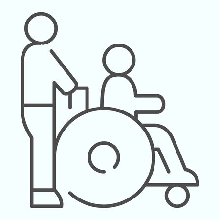 Disabled carriage thin line icon. Medical transportation vector illustration isolated on white. A man pushing a wheelchair with a patient outline style design, designed for web and app. Stock Illustratie