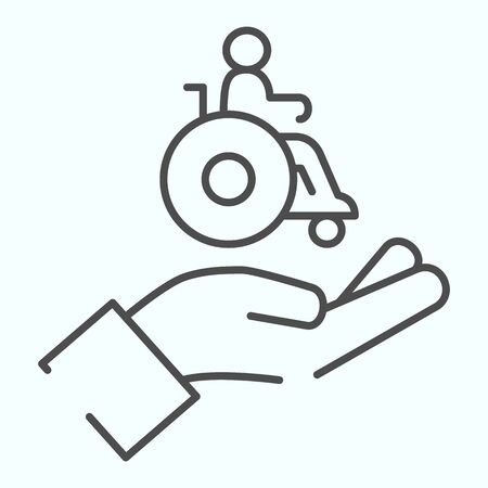 Help for people with disabilities thin line icon. Disabled carriage vector illustration isolated on white. A hand holding a wheelchair with a patient outline style design, designed for web and app. Illustration