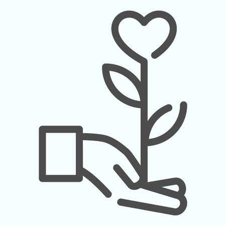 Heart flower line icon. Flower with heart on a hand vector illustration isolated on white. Giving the flower in shape of heart outline style design, designed for web and app.  イラスト・ベクター素材