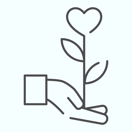 Heart flower thin line icon. Flower with heart on a hand vector illustration isolated on white. Giving the flower in shape of heart outline style design, designed for web and app.
