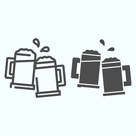 Mugs line and solid icon. Mugs with beer vector illustration isolated on white. Two holding beer glasses outline style design, designed for web and app. Eps 10.