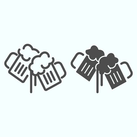 Beer Mugs line and solid icon. Mugs with beer vector illustration isolated on white. Two holding beer glasses outline style design, designed for web and app. Eps 10. Ilustração