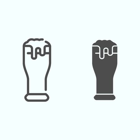 Beer glass line and solid icon. Glass with beer and foam vector illustration isolated on white. Beer outline style design, designed for web and app. Eps 10.