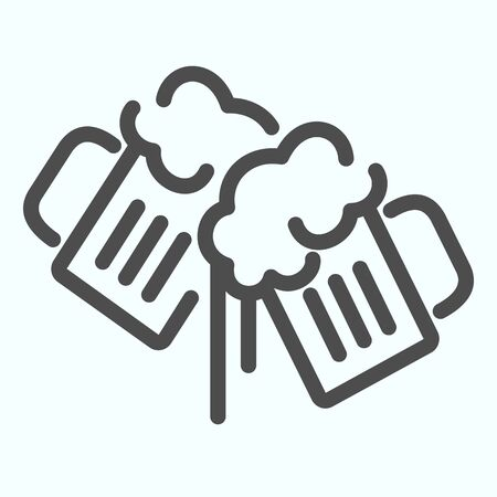 Beer Mugs line icon. Mugs with beer vector illustration isolated on white. Two holding beer glasses outline style design, designed for web and app. Eps 10. Ilustração