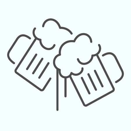 Beer Mugs thin line icon. Mugs with beer vector illustration isolated on white. Two holding beer glasses outline style design, designed for web and app. Eps 10. Ilustração
