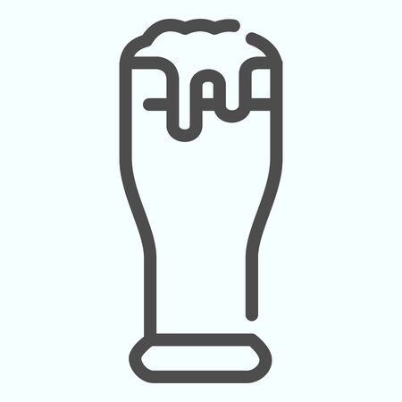Beer glass line icon. Glass with beer and foam vector illustration isolated on white. Beer outline style design, designed for web and app. Eps 10. Ilustração